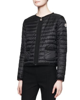 Long-Sleeve Short Puffer Jacket, Black