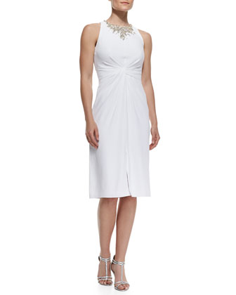 Twist-Front Dress with Bejeweled Collar, Alabaster White