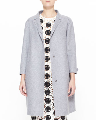 Double-Faced Cashmere Caban Coat & Spotted Curlicue Embroidered Lace Midi Dress