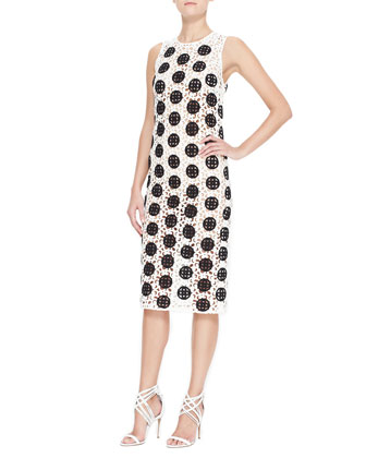 Spotted Curlicue Embroidered Lace Midi Dress, Black/White