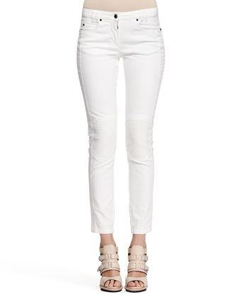 Moto-Patch Denim Ankle Pants
