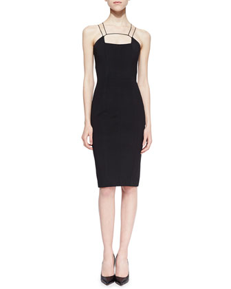 Power Viscose Cutout-Neck Sheath Dress, Black