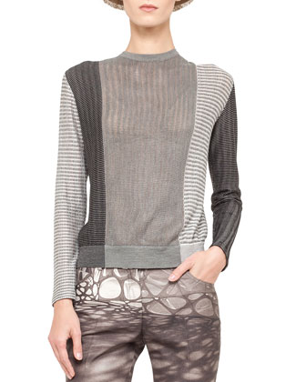 Mixed Jacquard Knit Top and Honeycomb Slim Stretch Ankle Pants