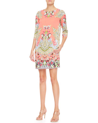 3/4-Sleeve Spaced Paisley Silk Dress, Coral