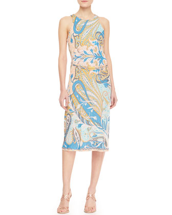 Racerback Chain-Belted Paisley Dress, Blue/Pink