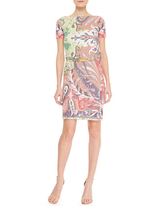 Short-Sleeve Chain-Belted Paisley Dress, Pink