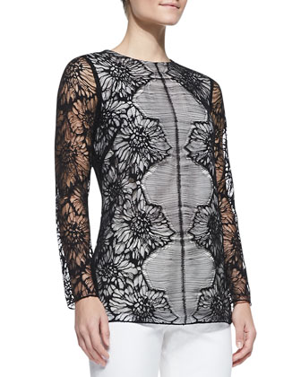 Long-Sleeve Lace Blouse, Black/Ivory