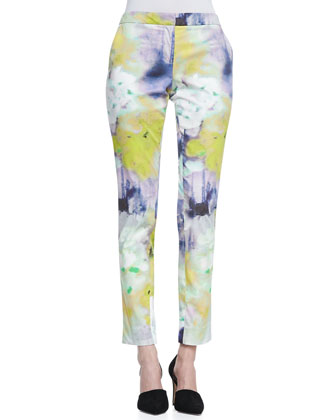 Caroline Watercolor-Print Slim Pants