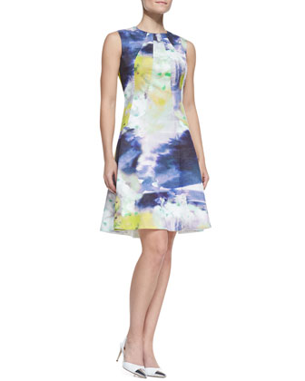 Seamed Drop-Waist Printed Cotton Dress