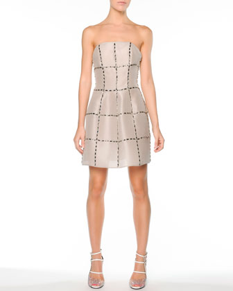 Strapless Crystal-Grid Silk Cocktail Dress, Ivory