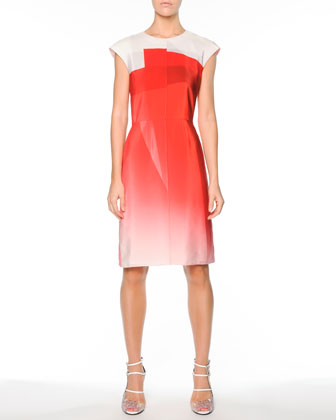 Graphic Gradient Silk Cap-Sleeve Dress, Poppy/White