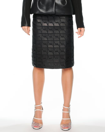 Crepe/Coated Cotton Peplum Jacket & Graphic Leather A-Line Skirt