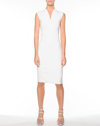 V-Neck Seamed Knit Dress, White