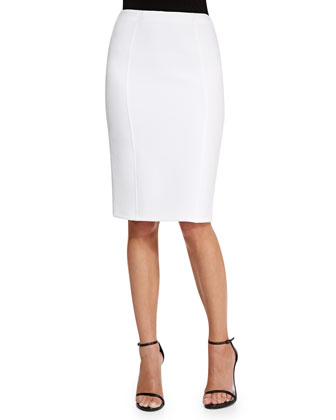 High-Waist Pencil Skirt, Ivory