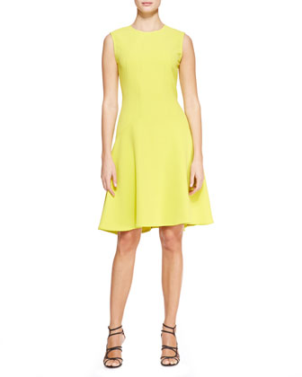Seamed Drop-Waist Dress, Citrine Yellow