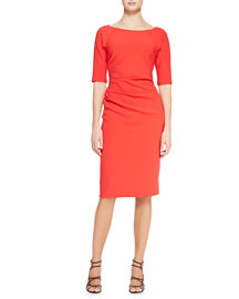 3/4-Sleeve Side-Ruched Dress, Persimmon