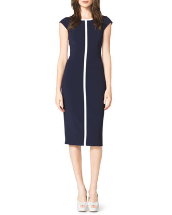 Contrast Cap-Sleeve Sheath Dress