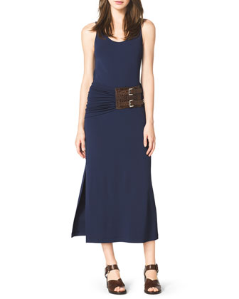 Belted A-Line Jersey Tank Dress