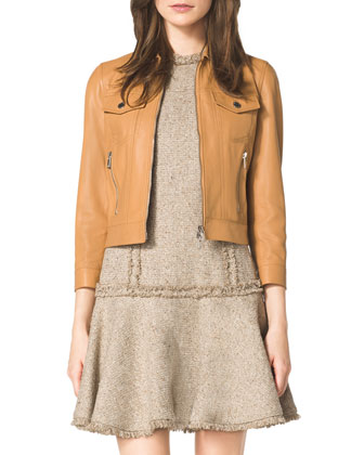 Leather Jacket & Drop-Skirt Tweed Dress