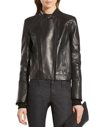 Black Shiny Calf Biker Jacket