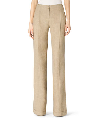 Cuffed Wide-Leg Trousers
