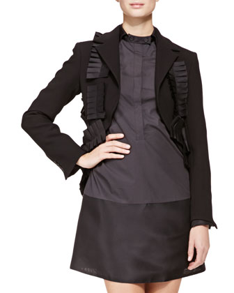 Tiered-Back Pleated-Ribbon Jacket and Tab-Collar Cotton Dress