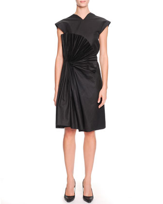 Cap-Sleeve Fan-Embellished Dress, Nero Black