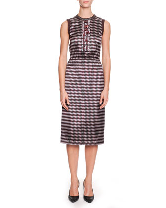 Ribbon Yarn Striped Cardigan and Optical Silk Jacquard Sheath Dress
