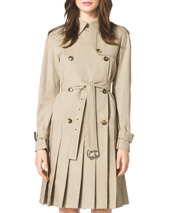 Pleated Trenchcoat Dress