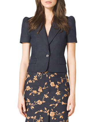 Short-Sleeve Blazer & Embroidered Wool-Blend Skirt