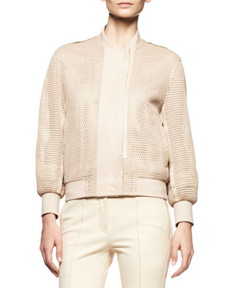 Honeycomb Mesh Jacket and Piped Stretch Skinny Pants