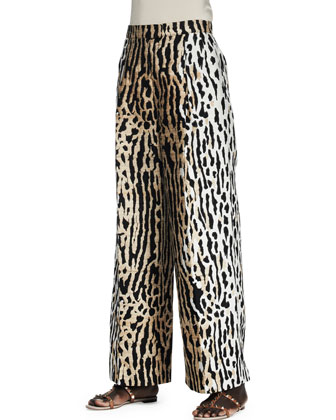 Leopard-Print Full-Leg Ankle Pants
