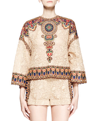Embroidered Lace Dolman Tunic