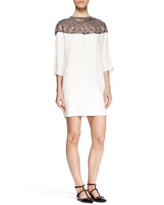 Embroidered-Yoke Shift Dress