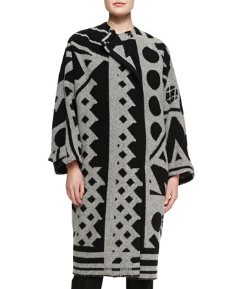 Double-Breasted Printed Coat, Gray/Black