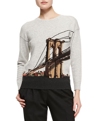 Brooklyn Bridge Intarsia Sweater, Gray