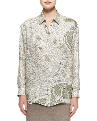 London Map-Print Collared Button-Up Blouse