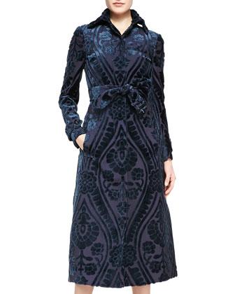 Midi Velvet Patterned Coat, Pewter Blue/Ink