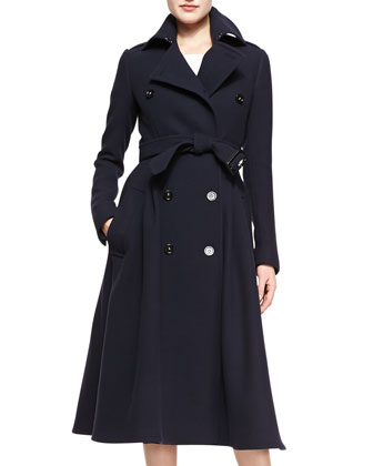 Double-Breasted A-Line Midi Coat, Deep Navy