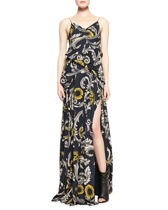 Scroll and Floral Printed Evening Gown, Midnight Blue