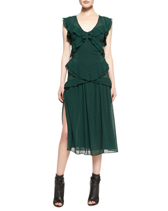 Ruffled V-Neck Chiffon Midi Dress with Thigh-High Slit, Green