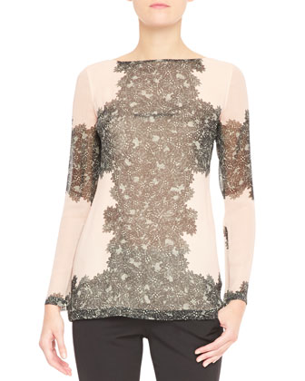 Long-Sleeve Peekaboo Lace Blouse