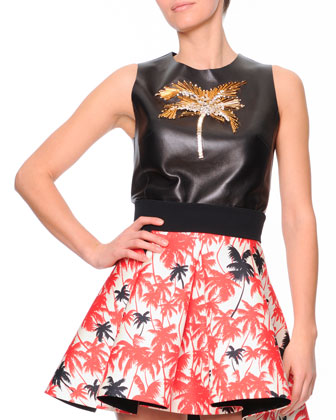 Gold Palm Tree-Embroidered Leather Top