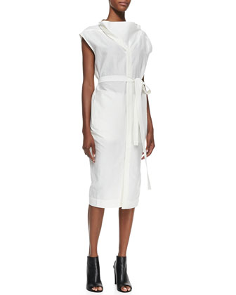 Oversize-Neck Belted Shirtdress
