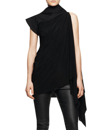 Sleeveless Long Tunic Toga with Hood, Black