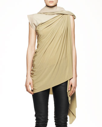 Long Draped Toga Tunic with Hood