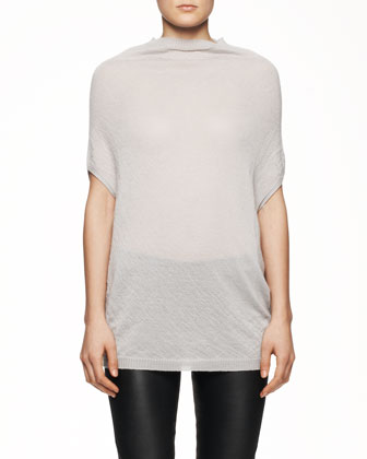 Short-Sleeve Crater Knit Sweater