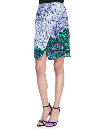 Neck-Ring Open-Back Top and Locked Notched Printed Skirt