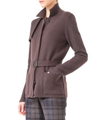Belted Knit Trench Cardigan
