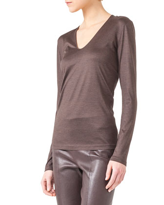 V-Neck Silk Jersey T-Shirt